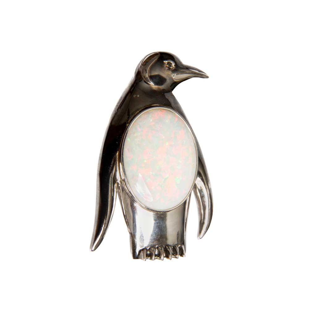 White Gold, White Opal & Diamond Penguin Brooch