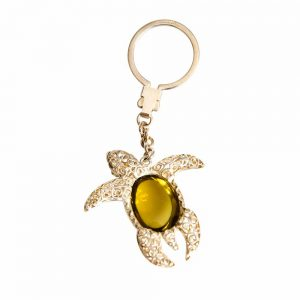 Silver & Lemon Quartz Sea Turtle Cabochon Keychain