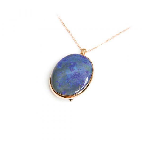 Deep Blue Opal & Rose Gold Pendant