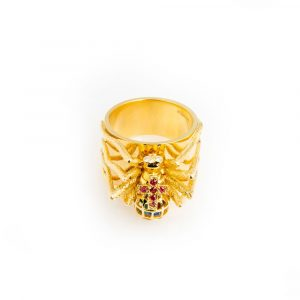 Yellow Gold, Diamond, Ruby & Emerald Spider Ring