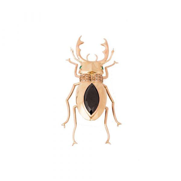 Black Diamond Beetle Brooch