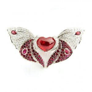 Spinel & Diamond Butterfly Ring & Brooch
