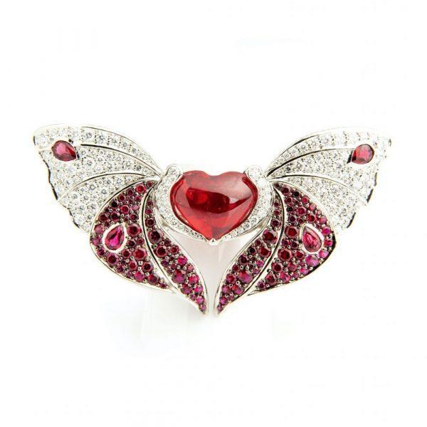 Spinel & Diamond Butterfly Ring & Brooch