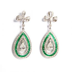 Smaragd & Diamant Tropfen Ohrringe