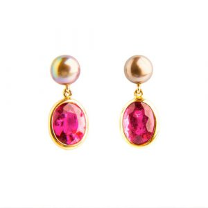 Rubellite, Tourmaline & Tahiti Pearl Drop Earrings
