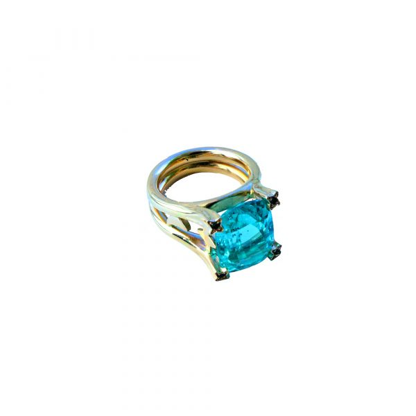 Blue Emerald & White Gold Cocktail Ring